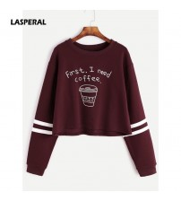 Long Sleeve Casual Cropped Sweatshirt Pullover