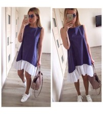 Loose Patchwork Sleeveless Beach Dress