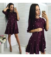 Beading Ruffle Loose Dress