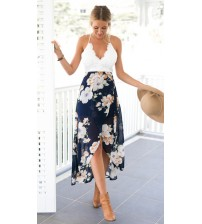 Lace Long Flower Print Patchwork Dresses