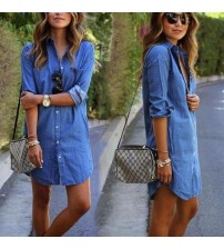 Casual Denim Dresses Pockets Elegant Cowboy