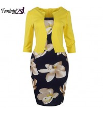 Floral Print Pencil Work Dresses