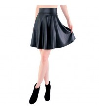 Faux Leather Skater Flare Skirt