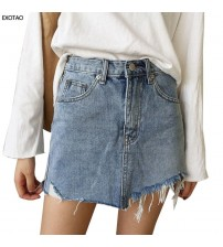 Jupe Irregular Edges Denim Skirts