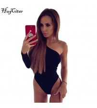 One Shoulder Slope Neckline Bodysuit