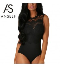 Lace Bodysuit Women Sheer Bodycon