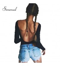 Backless Long Sleeve Autumn Bodysuit