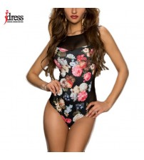 Bodysuits Flower Print Short Sleeve