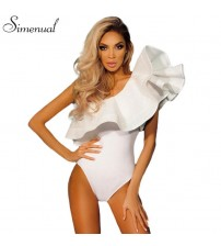 One Shoulder Ruffles Fitness Bodysuit
