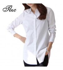 Long Sleeve Lady Casual Cotton Blouse