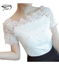 Sexy Short Sleeve Blouse Lace Patchwork