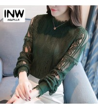 Green Lace Blouse Autumn Long Sleeve