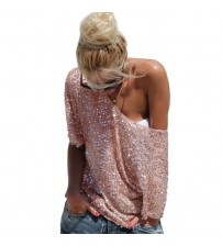 Sexy Loose Off Shoulder Sequin Glitter Blouses