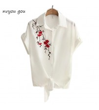 Casual Tops Short Sleeve Embroidery