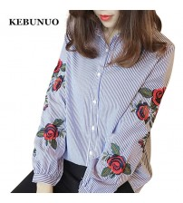 Floral Embroidery Blouse Autumn Long Sleeve