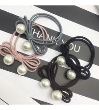 4PCS Hair Accessories Pearl Elastic Rubber Bands