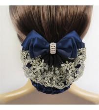 Floral Lace Satin Bow Barrette Lady Hair Clip