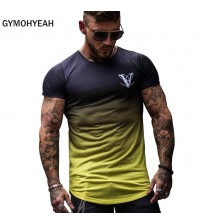 Mens Short Sleeve Fitness Mens t-shirt Gyms Tee Tight Casual Top