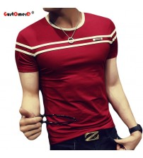 Fashion T shirt Short Sleeves Stripe Fold Slim Fit Casual tee shirt man