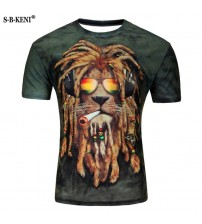 2019 High Quality The lion Move Printed 3D T-shirt Punk style 3D Short Sleeve T-Shirt M-4XL Lycra cotton Men's T-Shirts cool