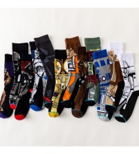 2018 New Male and Female Couple Socks 12 Kinds of Cotton Socks Star Wars Printing Classic Cartoon Character Yoda Wookiee Socks