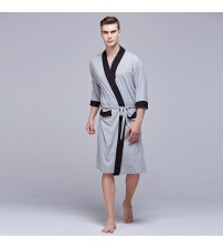 2018 Spring Summer Cotton Dressing Gown Bathrobe Men Solid Color Men's Cotton Robe Home Clothes Sleeping Robe For Men