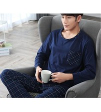 2019 fashion men shipping cloth 100%cotton o-neck collar long sleeve blue coat and blue pants comfortable free shipp