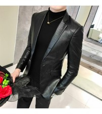 2019 New Spring and Autumn Summer Leather Fur Coat Leather Men's Slim Suit Leather Suit Trend Fashion Casual Men's Jacket