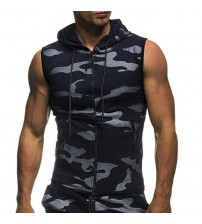 2018 new Men's Summer Casual Camouflage Print Hooded Sleeveless Top Vest Blouse feitong High Quality Men Hip Hop Letter