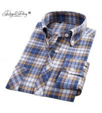 DAVYDAISY New Arrival Oxford Men Shirt Long Sleeved Plaid Striped Casual Shirts Brand Clothing Man Shirts 20 Colors DS164