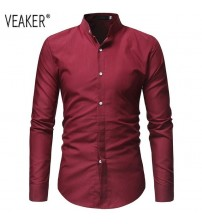 2018 Autumn New Men's Chinese Mandarin collar Shirts Male Casual Cotton Linen Long Sleeve Slim Fit Shirts Solid Color Shirt Tops
