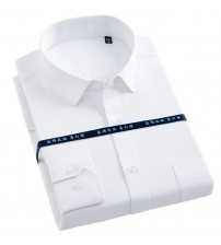 Brand Plus Size 5XL 6XL 7XL Men Dress Shirts Mens Slim Fit Casual Shirt Twill Solid Color Formal Social Work Shirt Easy Care