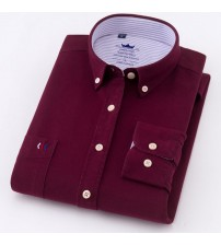 100% Cotton Shirt Men Oxford Long Sleeve Solid Color Casual Shirts For Men Designs Red With Left Pocket Male Camisa Masculina5XL