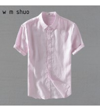 100%Linen Men Short Sleeve Casuals Shirts 2018 Summer Solid White Pink Turn-down Collar Shirt Y639