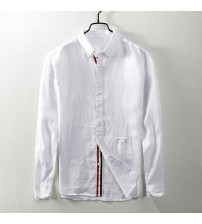 2018 Autumn new long-sleeved linen shirt men casual retro flax square collar white shirt mens large size shirts male camisa
