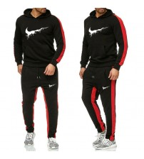 New Brand melting print Tracksuit Fashion Men Sportswear Two Piece Sets All Cotton Fleece Thick hoodie+Pants Sporting Suit Male