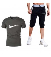 Quality Men's Sets Summer Hot Sale Men's Sets T Shirts+shorts Two Pieces Sets Casual Tracksuit Male Gyms Workout Fitness Sets
