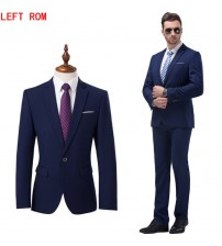 (Jacket+Pants) Autumn Mens Dark Blue and Black Suits With Pants 2017 New Classic Wedding Business Slim Fit Party Suit Men