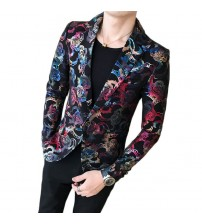 2018 Male Suit Blazer Flower Gold Print Party Wedding Festival Stylish Blazers For Men Stage Costumes Singers Slim Fit Jacket