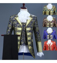 18th Century European court Men's Three-Piece Suits Nightclub Floral Embroidery  Performance Jacket Costume (Jacket+Pants+Vest)