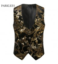 2018 Spring Autumn Mens Vest Vintage Male Waistcoat Steampunk Vest Men Shiny Bronzing Floral Wedding Gilet Homme Casual Clothing
