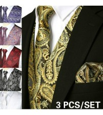 2018 Brand Black Mens Suit Vest+Tie+Pocket Square Paisley Floral Sleeveless Wedding Waistcoat Men Party Club Prom Gilet Homme