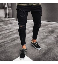 2018 new Fashion Men Ripped Skinny Jeans Destroyed Frayed Slim Fit Denim Pant casual men slim hole Zipper balck jeans pants