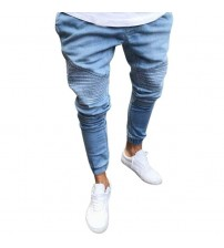 2018 Men's New Jeans Solid Color Slim Stretch Jeans Trousers Men's Stretchy Slim Fit Denim Pants Casual Long Straight Trousers