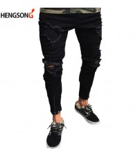 2018 New Fashion Men Shredded Skinny Jeans Knee Ripped Hole Destroyed Distressed Pencil Stretchy Men's Jeans