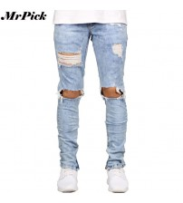 2017 Side Zipper Stretch Men Skinny Jeans Fashion Casual Hip Hop Hole Ripped Distressed Destroyed Jeans T0283