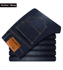 2019 Autumn Winter New Men's Slim Jeans Business Casual Elastic Skinny Jean Black Blue Denim Pants Male Brand Trousers 38 40