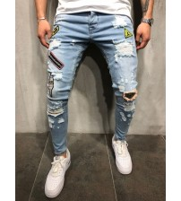 DIAOOAID 2018 Fashion New Male hole badge embroidery denim trousers pants Men's streetwear hiphop skinny Casual Patch Jeans