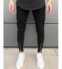 2018 New Men Ripped holes jeans Zip skinny biker jeans black white jeans with Pleated patchwork slim fit hip hop jeans men pants