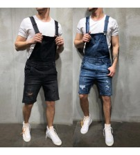 2019 New Fashion Men's Ripped Jeans Jumpsuits Shorts Summer Hi Street Distressed Denim Bib Overalls For Man Suspender Pants